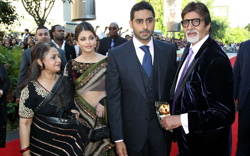 "L-R Jaya Bachchan, Aishwarya Rai, Abhishek Bachchan and Amitabh Bachchan attend the world premiere of Raavan on June 16, 2010 in London, England. The Bachchans are Bollywood's ""first family"" and have a fanatical following in India and around the world. ""There is joy and happiness around us,"" tweeted BigB after revealing the news about Aishwarya Rai's pregnancy. (GETTY IMAGES)"