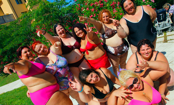 Candidates of the 21st Italian national Miss Cicciona (Miss Fat Woman) competition pose for a photo at Casciana Terme in the Tuscan town of Forcoli. (AFP)