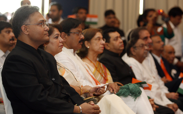 Council General of India Sanjay Verma,(L)attends the Independence Day. (Xavier Wilson)