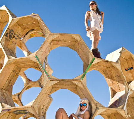 """The """"Honey Trap"""" art installation is shown during Burning Man 2010 in Black Rock City, Nev. (AP)"""