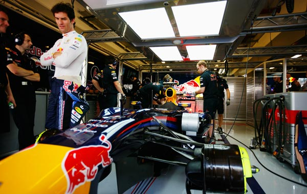 Mark Webber of Australia and Red Bull Racing prepares to drive during practice for the Abu Dhabi Formula One Grand Prix at the Yas Marina Circuit in Abu Dhabi, United Arab Emirates. (GETTY)