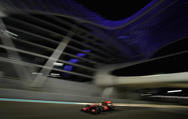 Lewis Hamilton of Great Britain and McLaren Mercedes drives during practice for the Abu Dhabi Formula One Grand Prix at the Yas Marina Circuit in Abu Dhabi, United Arab Emirates. (GETTY)