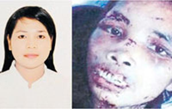 The Indonesian woman before and after she was tortured. (SUPPLIED)