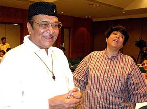 """Bhupen Hazarika (left), the man behind such Bollywood hits as """"Dil Hoom Hoom Kare"""" died on 5th November. One of the most famous cultural icons who hailed from North East India was known for some of the best compositions combining traditional and modern music in the cinema.  (FILE)"""