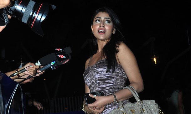 Indian Bollywood actress Shriya Saran arrives to attend a People Magazine theme party in Mumbai. (AFP)