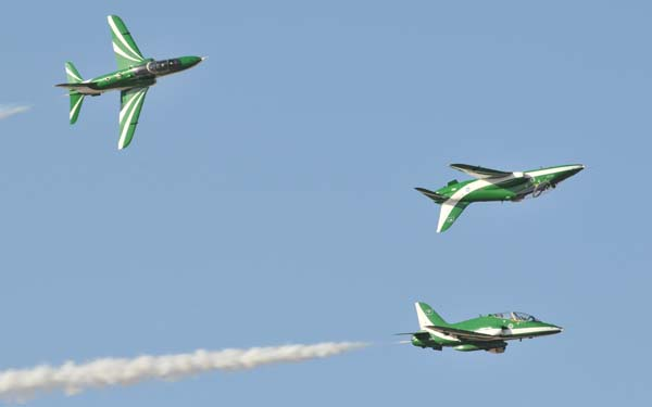 Saudi hawks in a display of performance flying at a recent Al Ain Aerobatics event (FILE)