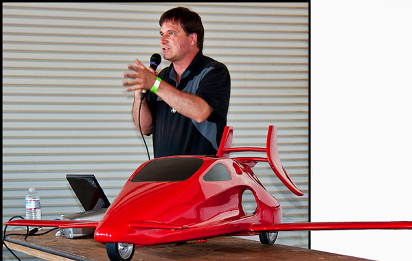 Sam Bousfield, inventor of the Switchblade™ spoke to a crowd during a forum at the recent Golden West Regional Fly-In and Air Show in Yuba City with a scale model at his side. (AGENCIES)