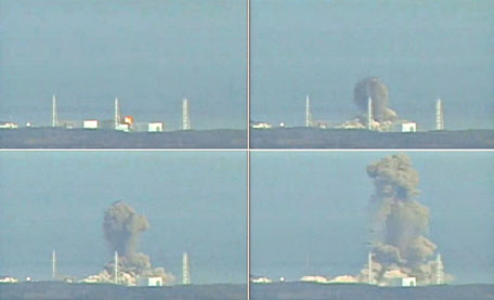 A combination photo made of still images from video footage March 14, 2011, shows the explosion at Fukushima Daiichi nuclear power complex. A hydrogen explosion rocked a crippled nuclear power plant in Japan on Monday where authorities have been scrambling to avert a meltdown following Friday's massive earthquake and tsunami.   (REUTERS/NTV)