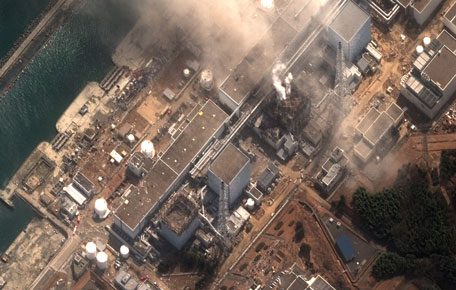 This satellite image provided by DigitalGlobe shows the damaged Fukushima Dai-ichi nuclear facility in Japan on Monday, March 14, 2011. Authorities are strugging to prevent the catastrophic release of radiation in the area devastated by a tsunami. (AP)