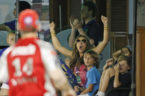 British actress and model Elizabeth Hurley during the match (AP)