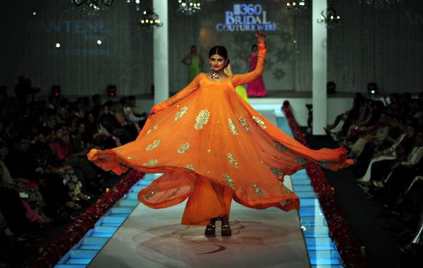 A model presents a creation by Pakistani designer La Chantal by Saba on the last day of Bridal Couture Week in Karachi. (AFP)