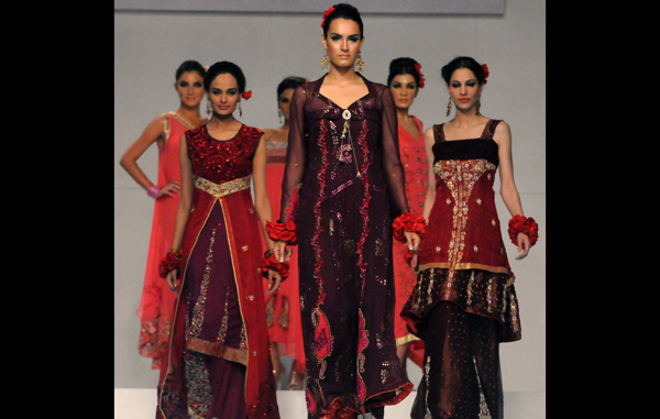 Models present creations by Pakistani designer Hajra Hayat on the 2nd  day of Bridal Couture Week in Karachi. (AFP)
