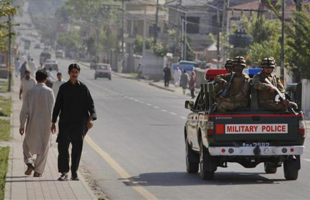 Soldiers patrol the city of Abbotabad in Pakistan's Khyber Pakhtunkhwa province, May 2, 2011. (REUTERS)