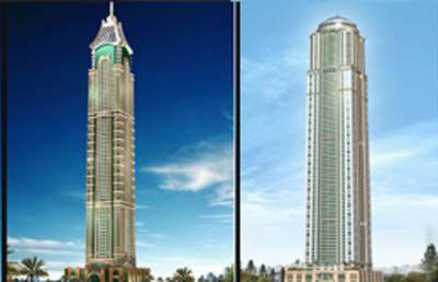 The 381-metre Elite Residence (left) and the 414-metre Princess Tower will by among the world's tallest residential buildings. (SUPPLIED)
