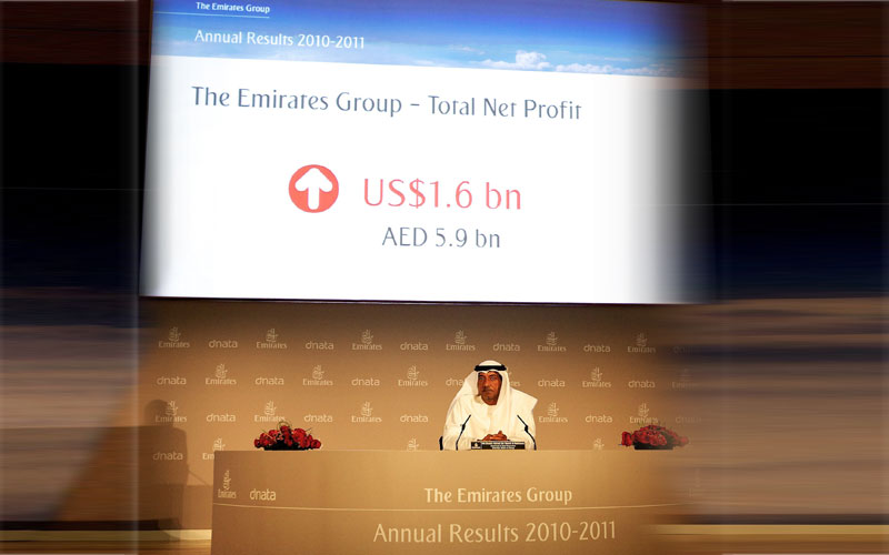 Sheik Ahmed bin Saeed Al Maktoum,Chairman and Chief executive of Emirates Airline & Group delivers The Emirates Group Annual Results 2010-2011 during a press conference at the Emirates Group Headquarter in Dubai, United Arab Emirates. (AP)