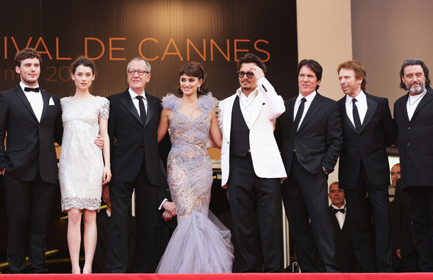 "(L-R) Actors Sam Claflin,Astrid Berges-Frisbey,Geoffrey Rush,Penelope Cruz,Johnny Depp, director Rob Marshall, producer Jerry Bruckheimer and actor Ian McShane attend the ""Pirates of the Caribbean: On Stranger Tides"" premiere at the Palais des Festivals during the 64th Cannes Film Festival on May 14, 2011 in Cannes, France. (GETTY/GALLO)"