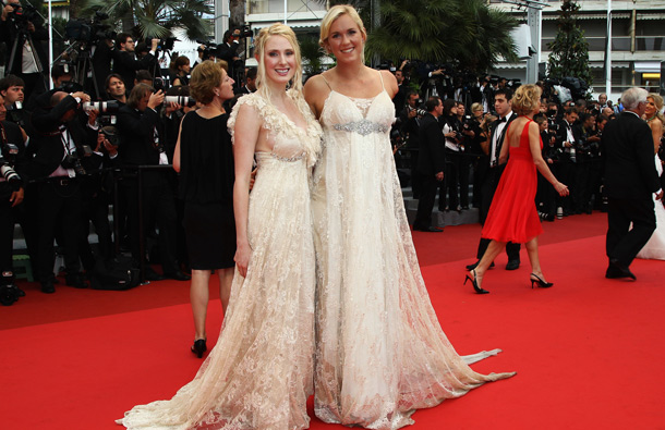 "Surfer Beth Hamilton (R) attends the ""Pirates of the Caribbean: On Stranger Tides"" premiere at the Palais des Festivals during the 64th Cannes Film Festival on May 14, 2011 in Cannes, France. (GETTY/GALLO)"