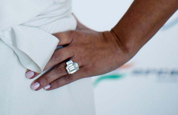 Kim Kardashian wears a diamond ring as she attends the Amber Fashion Show held at the Meridien Beach Plaza in Monte Carlo, Monaco. (GETTY/GALLO)