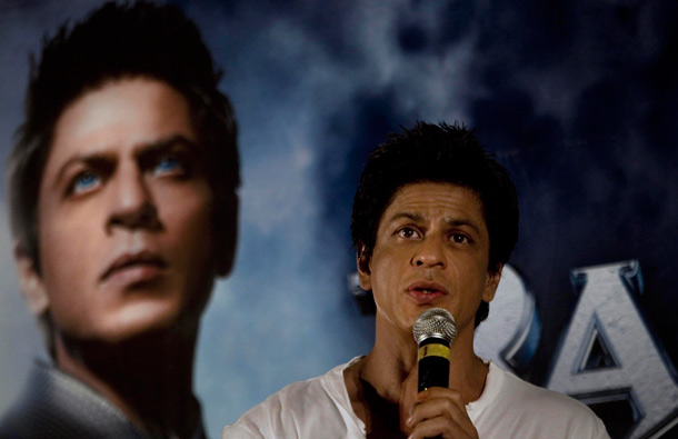 Bollywood actor Shah Rukh Khan speaks during a press conference to promote his upcoming film Ra.One, in New Delhi, India. Ra.One is a Hindi science fiction superhero film. (AP)
