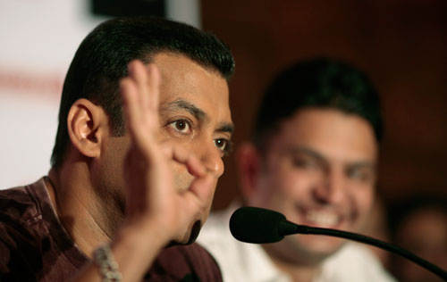 Bollywood actor Salman Khan interacts with the media during the release of his movie 'Ready' (AP)