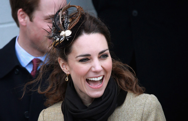 Kate Middleton and Prince William smile as they visit Trearddur Bay Lifeboat Station at Anglesey on February 24, 2011 in Trearddur, Wales. (GETTY/GALLO)