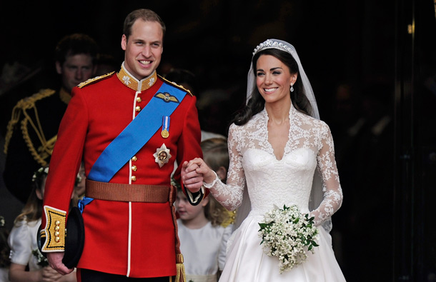 Prince William and his wife Kate, Duchess of Cambridge stand outside of Westminster Abbey after their Royal Wedding in London. (AP)