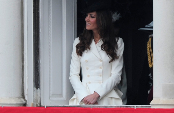 """The Duchess of Cambridge looks on from the Duke of Wellington's former office as she attends the Queen's Birthday Parade, """"Trooping the Colour"""", at the Horse Guards Parade, in London, on June 11, 2011. (AFP)"""