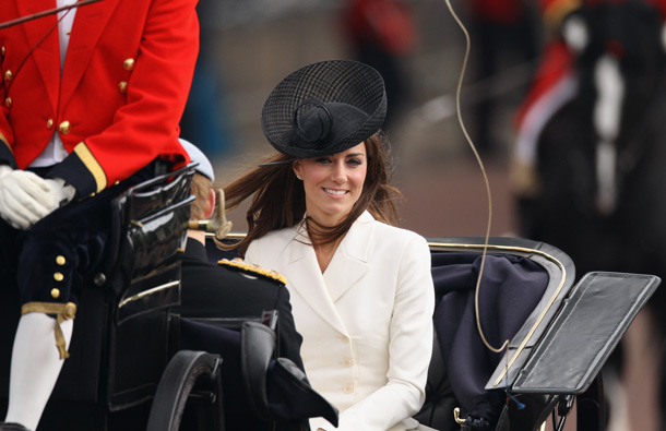 Catherine, Duchess of Cambridge travels by horse-drawn carriage from Horse Guards Parade after attending the Trooping the Colour parade on June 11, 2011 in London, England. The ceremony of Trooping the Colour is believed to have first been performed during the reign of King Charles II. (GETTY/GALLO)
