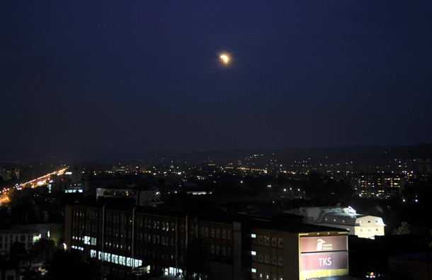 The earth casts its shadow over the moon during a total lunar eclipse, as seen from Skopje, Macedonia. (AP)