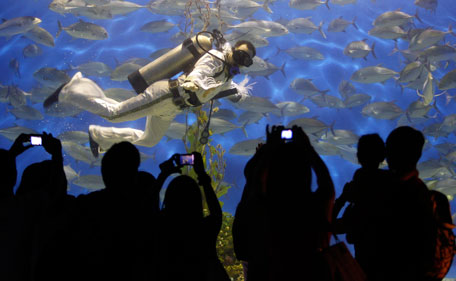 """Visitors take pictures of a professional diver wearing an Elvis Presley attire as he swims at an aquarium inside the Ocean Park in Manila August 15, 2011. Presley, the """"King of Rock and Roll"""", died at his home, Graceland Mansion, in Memphis, Tennessee, at the age of 42 on August 16, 1977 from drug overdose. (REUTERS)"""