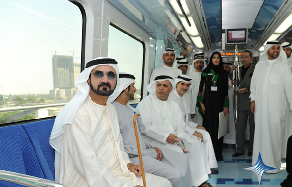 Sheikh Mohammed riding the Metro. (SUPPLIED)