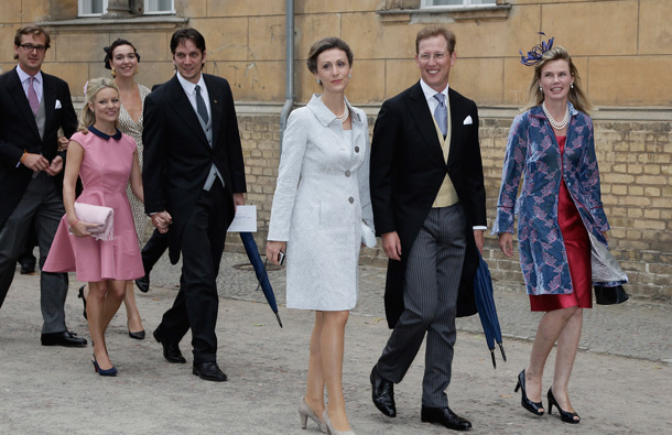 (L-R) Princess Sibilla of Luxembourg, Bernhard Erbprinz von Baden with wife Stephanie Kalt attend the religious wedding ceremony of Georg Friedrich Ferdinand Prince of Prussia to Princess Sophie of Prussia in the Friedenskirche Potsdam on August 27, 2011 in Potsdam, Germany. (GETTY/GALLO)