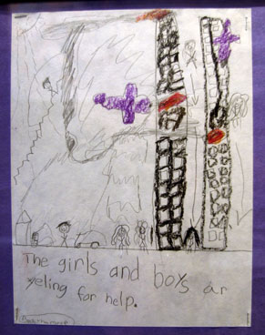 In this Sept 4, 2002, file photo a drawing of the Sept 11 attacks on the World Trade Center twin towers by a first-grade student at Newark's Abingdon Avenue School is displayed at an exhibit of Sept. 11 artifacts at the New Jersey Historical Society in Newark, NJ.