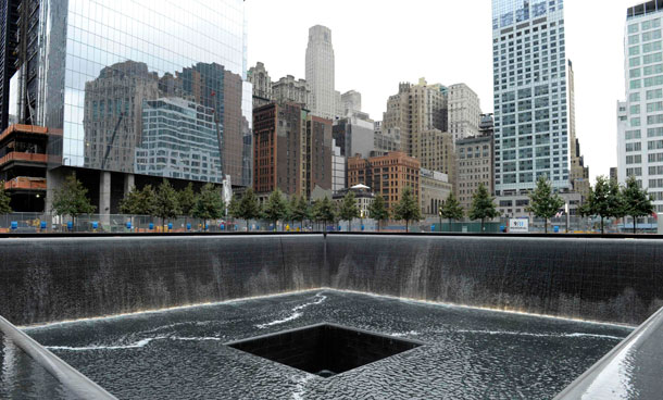 A view of the World Trade Center North Tower memorial pool at the National September 11 Memorial and Museum in New York,Tuesday, Sept 6, 2011.  (AP)