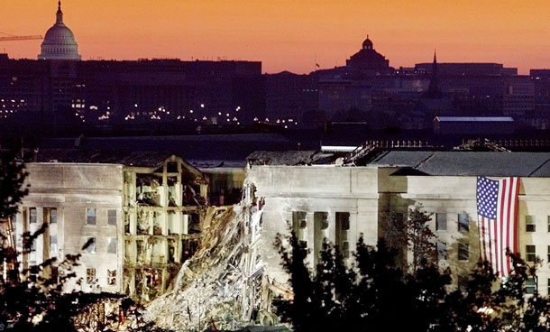 The damaged area of the Pentagon is seen at sunrise with the US Capitol Building in the background in this September 16, 2001 file photo. September 11th marks the 10th anniversary of the 9/11 attacks where nearly 3,000 people died when four hijacked airliners were used in coordinated strikes on the Pentagon and the World Trade Center towers. The fourth plane crashed in Pennsylvania. (REUTERS)