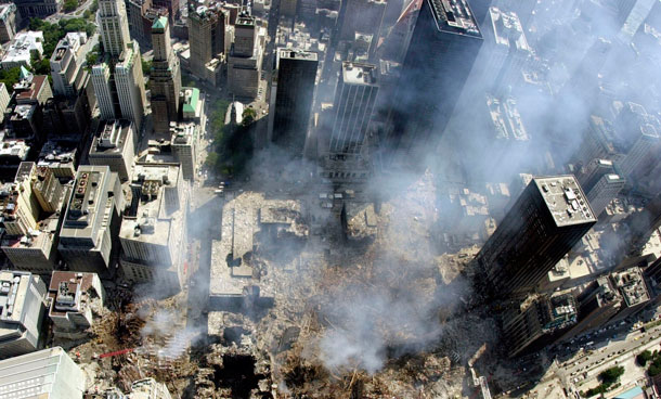 An aerial view of the World Trade Center disaster site in New York in this September 18, 2001 file photo. September 11th marks the 10th anniversary of the 9/11 attacks where nearly 3,000 people died when four hijacked airliners were used in coordinated strikes on the Pentagon and the World Trade Center towers. The fourth plane crashed in Pennsylvania. (REUTERS)