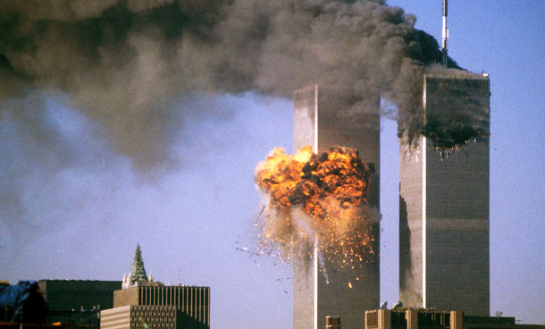The south tower of the World Trade Center bursts into flames after being struck by United Airlines Flight 175 in New York in this September 11, 2001 file photo. September 11th marks the 10th anniversary of the 9/11 attacks where nearly 3,000 people died when four hijacked airliners were used in coordinated strikes on the Pentagon and the World Trade Center towers. The fourth plane crashed in Pennsylvania. (REUTERS)