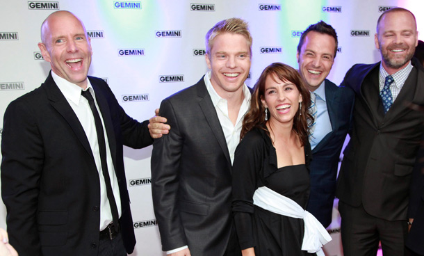 """The cast of """"Flashpoint"""" pose on the red carpet at the 26th Gemini Awards in Toronto September 7, 2011. (REUTERS)"""
