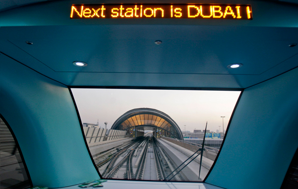 A view of a station is seen from a train window during official opening of the Dubai Metro Green Line which stretches 23 km and comprises 18 stations in Dubai, United Arab Emirates, Friday Sept. 9, 2011. (AP)