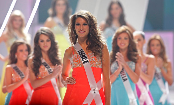 Miss France Laury Thilleman walks on stage as she is chosen as a finalist in the Miss Universe 2011 pageant in Sao Paulo September 12, 2011. (REUTERS)