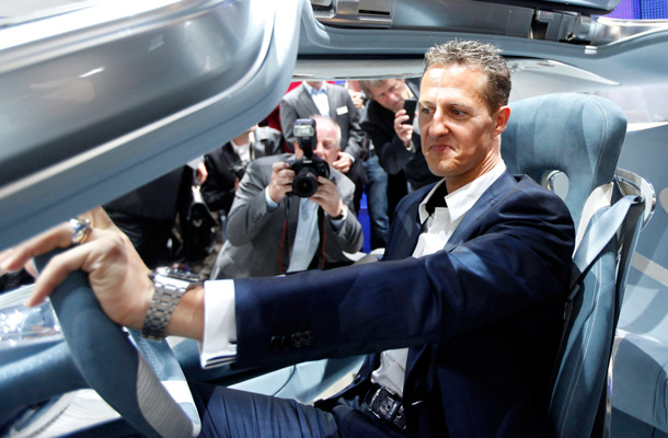 F1 Driver Michael Schumacher Sits In A Fuel Cell Car Mercedes F 125 During The Press Day Of Frankfurt Auto Show Iaa Germany