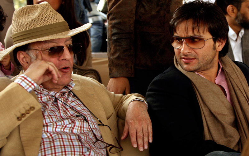 Former India captain Mansur Ali Khan Pataudi (left), 70 father of Bollywood actor Saif Ali Khan (right) died at a local hospital in New Delhi where he was being treated for a lung disease on Thursday September 22, 2011. (AP Photo)