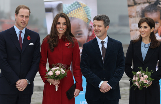 Prince William, Duke of Cambridge, (L) Catherine, Duchess of Cambridge, (2nd L) Frederik, Crown Prince of Denmark and Mary, Crown Princess of Denmark visit the UNICEF Global Supply Centre in Copenhagen, Denmark. The visit is to help maintain the spotlight on the ongoing humanitarian crisis in East Africa, which has left hundreds of thousands of children severely malnourished and at risk of starving to death unless they receive urgent help. The huge supply centre sources supplies packs and distributes the food, water, vaccines and emergency medical kits for children around the globe. (GETTY/GALLO)
