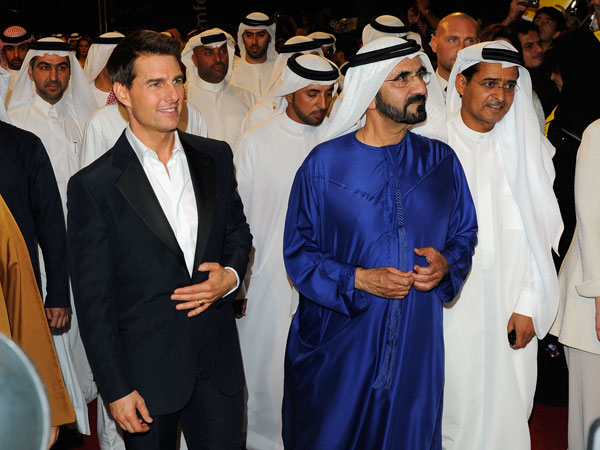 "His Highness Sheikh Mohammed bin Rashid Al Maktoum, Vice-President and Prime Minister of the UAE and Ruler of Dubai and actor Tom Cruise attend the ""Mission: Impossible - Ghost Protocol"" Premiere. (GETTY)"