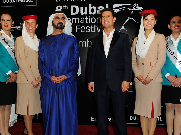 His Highness Sheikh Mohammed bin Rashid Al Maktoum, Vice-President and Prime Minister of the UAE and Ruler of Dubai and actor Tom Cruise at the Madinat Jumeriah Complex on December 7, 2011 in Dubai, United Arab Emirates. (GETTY)