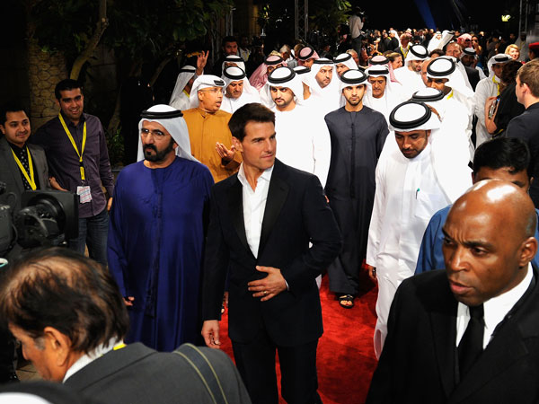 His Highness Sheikh Mohammed bin Rashid Al Maktoum, Vice-President and Prime Minister of the UAE and Ruler of Dubai and actor Tom Cruise during day one of the 8th Annual Dubai International Film Festival held at the Madinat Jumeriah Complex on December 7, 2011 in Dubai. (GETTY)