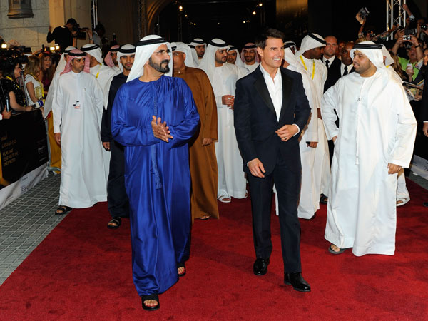 His Highness Sheikh Mohammed bin Rashid Al Maktoum, Vice-President and Prime Minister of the UAE and Ruler of Dubai and actor Tom Cruise attend the 8th Annual Dubai International Film Festival held at the Madinat Jumeriah Complex on December 7, 2011 in Dubai, United Arab Emirates. (GETTY)