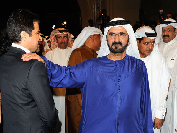 "His Highness Sheikh Mohammed bin Rashid Al Maktoum, Vice-President and Prime Minister of the UAE and Ruler of Dubai greets actor Anil Kapoor (L) as they attend the ""Mission: Impossible - Ghost Protocol"" Premiere. (GETTY)"
