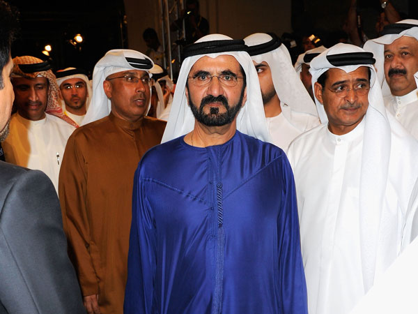 "His Highness Sheikh Mohammed bin Rashid Al Maktoum, Vice-President and Prime Minister of the UAE and Ruler of Dubai attends the ""Mission: Impossible - Ghost Protocol"" Premiere at the 8th Annual Dubai International Film Festival in Dubai, United Arab Emirates. (GETTY)"