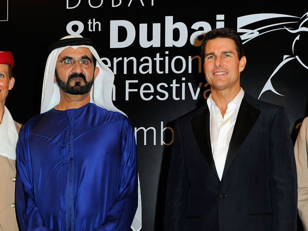 "His Highness Sheikh Mohammed bin Rashid Al Maktoum, Vice-President and Prime Minister of the UAE and Ruler of Dubai and actor Tom Cruise attend the ""Mission: Impossible - Ghost Protocol"" Premiere during day one of the 8th Annual Dubai International Film Festival. (GETTY)"